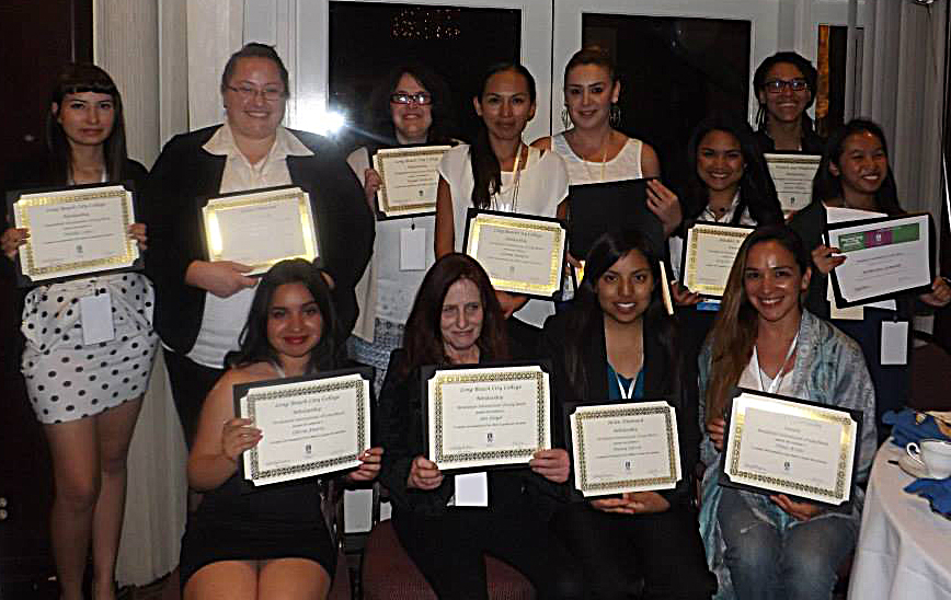Group photo of 2014 Winners of Scholarships from Soroptimist International of Long Beach
