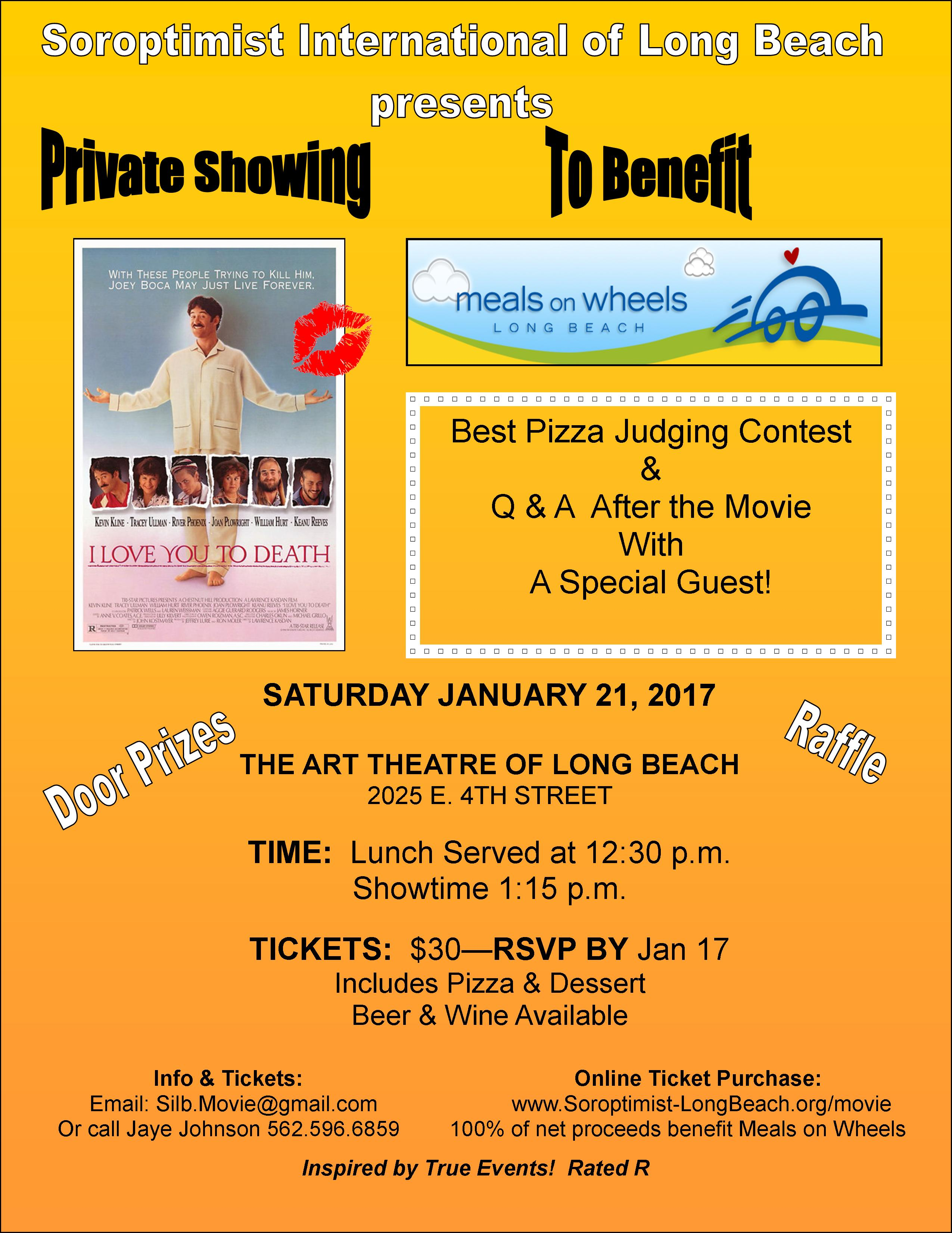 Soroptimist Intl of Long Beach presents a Private Showing of %22I Love You to Death%22 starring Kevin Kline and Tracey Ullman